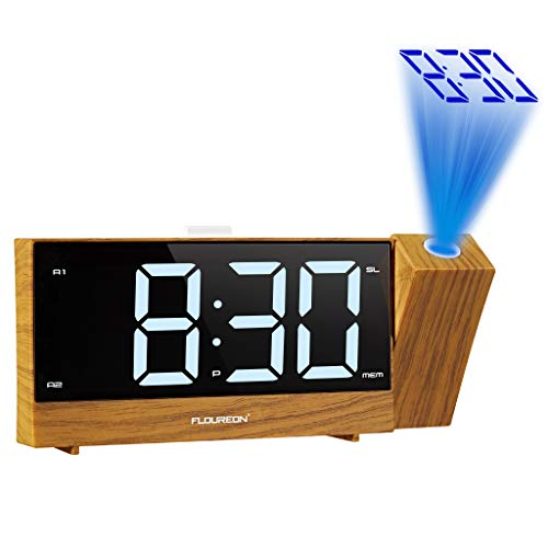 floureon Reloj Radio Despertador de Proyección, Reloj de Alarma Dual de FM Radio Digital, LED Pantalla Grande, Función Snooze, Temporizador de Apagado, Carga USB, Respaldo de Batería