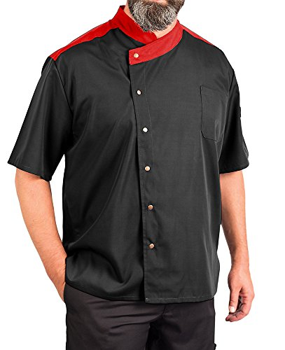 Lightweight Uptown Snap Front Chef Coat, Black with Red Accent, L