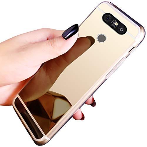 JAWSEU Compatible avec LG G5 Coque Miroir Silicone,Cristal Brillant Bling Glitter Miroir Housse de Protection Slim Souple Gel Paillettes Strass Case Femme Fille,Or