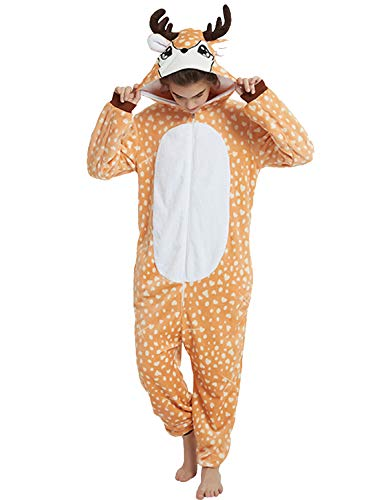 Amenxi Tier Onesie Pyjama Cosplay Kostüme Schlafanzug Erwachsene Unisex Animal Tieroutfit tierkostüme Jumpsuit (Deer, Körpergröße 165-175cm (L))