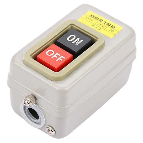 Interruptor de botón 3P, terminales de tornillo, interruptor de encendido y apagado de bloqueo automático duradero, BS216B para circuito de encendido/apagado del motor