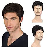 Beauart Human Hair Mens Wigs Short Straight Black Wig for Male Middle Aged Mature Men Right Side Part Hair Replacement Full Wigs