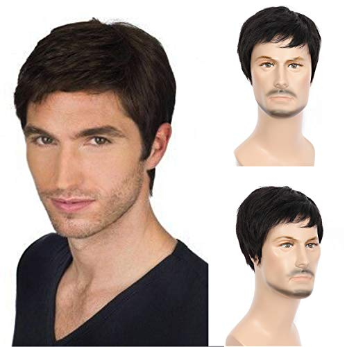 Beauart Human Hair Mens Wigs Short Straight Black Wig for Male or Women Middle Aged Mature Men Right Side Part Hair Replacement Full Wigs
