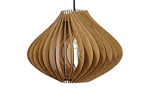 wodewa Plafonnier moderne en bois Ventus - Chêne - LED E27 - Durable - Réglable en hauteur