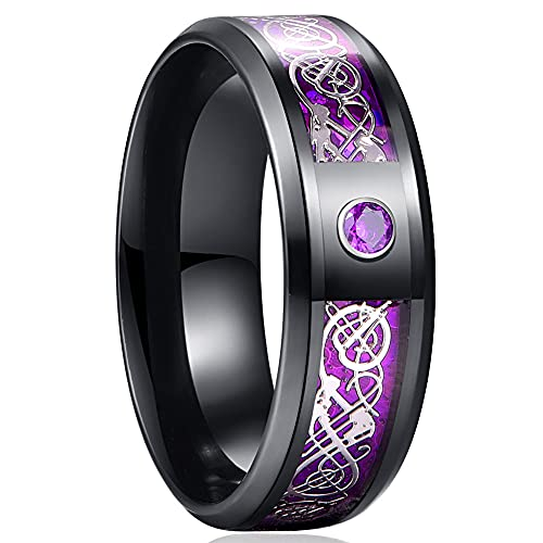 AJZYX Mens 8mm Tungsten Carbide Engagement Wedding Band Silver Celtic Dragon Purple Carbon Fiber and Cubic Zirconia Inlay Comfort Fit Ring Size 12