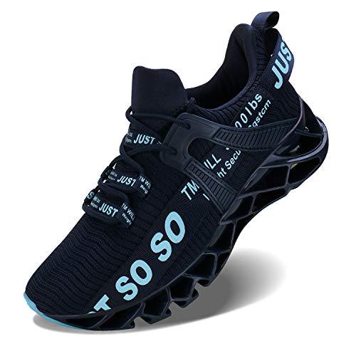 Wonesion Herren Fitness Laufschuhe Atmungsaktiv rutschfeste Mode Sneaker Sportschuhe,5 Blau,43 EU