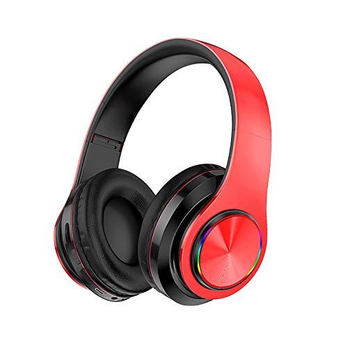 DJXLMN Auriculares Inalámbricos Bluetooth Auriculares Estéreo Suaves Orejeras Micrófono Incorporado Modo Cableado Pc/Teléfono Móvil/TV,Rojo