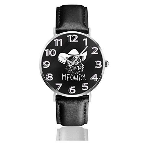 Meowdy Texas Cat Meme Reloj de Pulsera Deportivo Impermeable de Cuarzo 38 mm