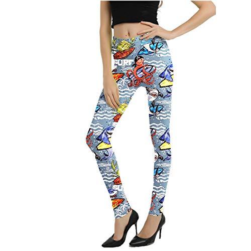 Lenfeshing Mallas Deporte Mujer Leggins Yoga Pantalón Deportivas Patrón de Dibujos Animados Gym Pantalones Deportivos Elástico Polainas