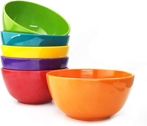 Set of 6 100% Melamine 28oz Salad Bowls Set,6 inch Round Melamine Soup Cereal Bowls,Melamine Dinnerware sets for Home Dinner Party or Picnic,Break-resistant and BPA Free,Multicolor