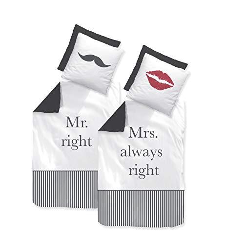 Träumschön Partner Bettwäsche 135x200 Mr Right Mrs Always Right Bettwäsche | Renforce Bettwäsche 135x200 Baumwolle | Ideales Hochzeitsgeschenk