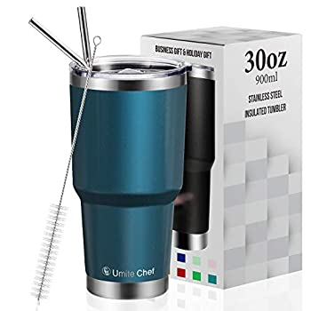 30oz Tumbler with Lid Insulated Stainless Steel Travel Tumbler by Umite Chef Insulated Coffee Mug Double Wall Water Coffee Cup for Home Office 2 Straws Brush(30oz Blue Green)