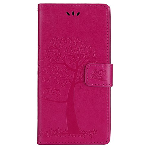 JAWSEU Kompatibel mit Sony Xperia L2 Hülle Leder Flip Case Wallet Tasche Cover Hüllen Eule Baum Muster PU Handyhülle Brieftasche Etui Schutzhülle Handytasche Magnetisch Ständer,Rose rot