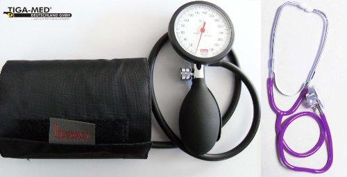 Blutdruckmessgerät Boso K 1 shock protected + Doppelkopf Stethoskop Violett Stetoskop Doppelkopfsttehoskop Tiga-Med