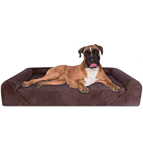 KOPEKS 6-Inchthick High Grade Orthopedic Memory Foam Sofa Dog Bed Easy to Wash Removable Cover with Anti-Slip Bottom. Free Waterproof Liner Included - Jumbo XL 56' x 40' for Large Dogs - Brown