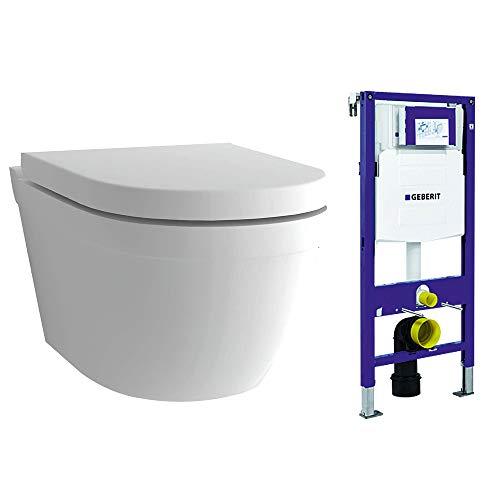 Alpenberger Spülrandloses Hänge-WC mit Geberit Spülkasten UP320 Duofix inkl. WC-Sitz aus Duroplast SET | Wand-WC D-Form | WC-Sitz mit SoftClose-Funktion | Rimless WC inkl. Befestigungsset | Tiefspüler