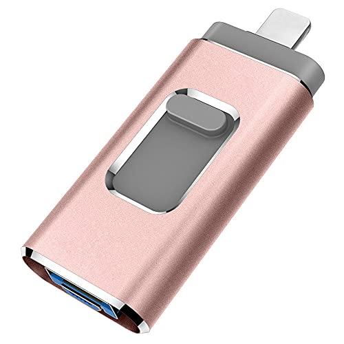 YOHU 256GB Chiavetta USB per Phone Memoria USB Esterna Photostick Flash Drive PenDrive per Dispositivi con iOS/Android/USB C/Micro USB/Tipo C Porta (Rosa)