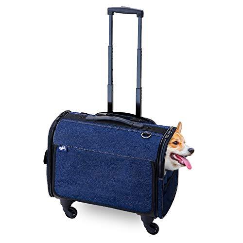 ブロッサムリュックキャリー デニム M 犬 小型犬 中型犬 多頭飼い キャスター 取り外し 手持ち ショルダー リュック メッシュ 耐荷重 10kg