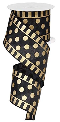 Black and Gold Dots and Stripes Wired Edge Ribbon - 50 Yards (2.5')
