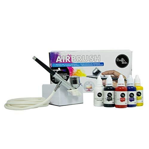 Crafts & Co Airbrush Set met Compressor Inclusief 5 Kleuren Acrylverf