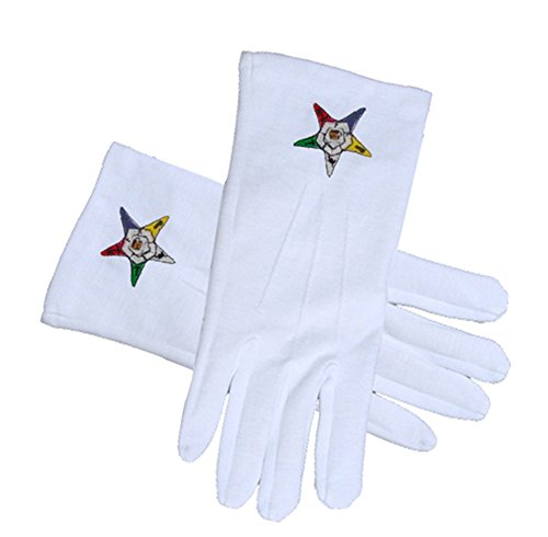 OES Classic Star Face Cotton Gloves - White (One Size Fits Most) - Order of the Eastern Star. Masonic