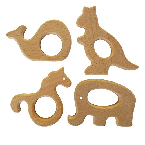 Hombae Wooden Teether Rings Natural Wood Teething Toys for Infant, Wooden Teether Animals for Toddler (Unicorn, Elephant, Whale, Kangaroo)4Pack