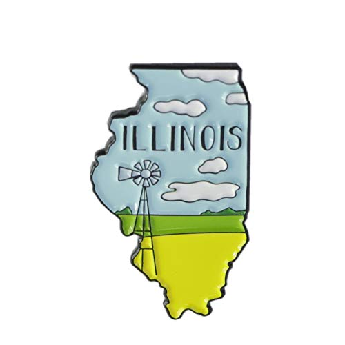 Illinois Prairie Edition State Shape of Illinois Enamel Lapel Pin (1 Pin)