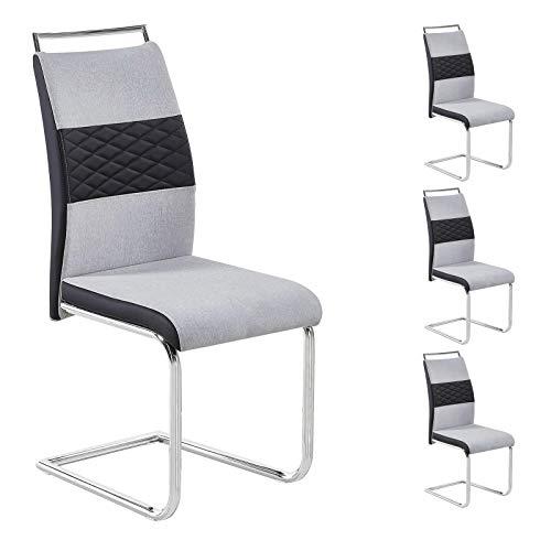 CARO-Möbel Esszimmerstuhl 4er Set Erza Stoffbezug in hellgrau mit Kunstledereinsätzen Küchenstuhl Schwingstuhl