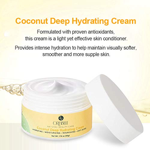 Orlabelle Deep Hydrating Face Cream with Hyaluronic Acid, Vitamin E and C, and Cold Pressed Coconut Oil, Natural Shea Butter Facial Moisturizer for Firming and Tightening Skin