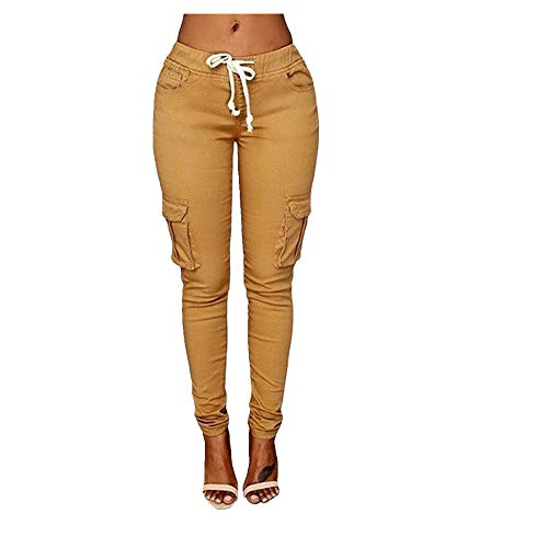 pantalones de cintura alta pantalones sólidos bolsillos con cordón pantalones polainas ocasionales lápiz pantalones