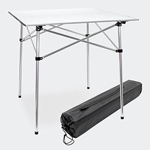 Wiltec Tavolino da Campeggio Arrotolabile in Alluminio con ripiano da 70x69 cm e Borsa per Il Trasporto.