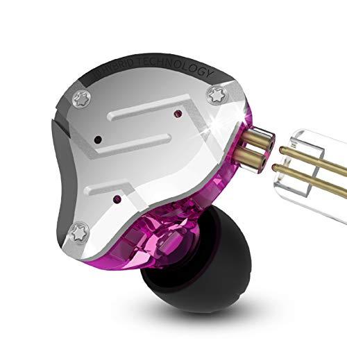 KZ ZS10 Pro 4BA + 1DD IEM Kopfhörer Five Driver 4 Balanced Armature und 1 Dynamic Driver Ohrhöre mit 2-poligem Ersatzkabel(Lila kein Mic)