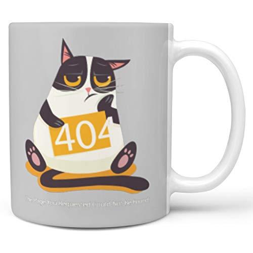 Bekend 11 OZ 404 Fout Kat Mix Thee Mok Bekers met Handvat Keramische Retro Mok - Grappige Programmeur Geschenken Meisjes Present, Pak voor Dorm gebruik