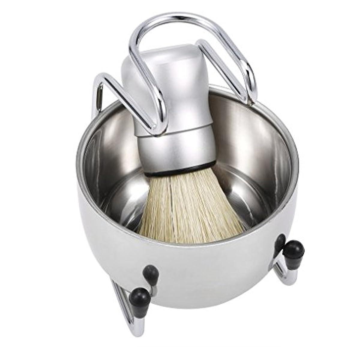 熱帯のシンプルさプログレッシブ3 in 1 Men's Shaving Tools Set Well Polished Shaving Brush Soap Bowl Stand Holder Badger Hair Male Face Cleaning