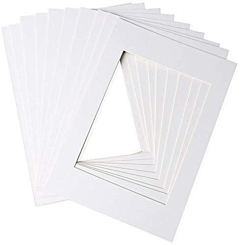 nuosen 10 Stück weiß Bilderhalter Bilderrahmen Passepartout für 15,2 x 20,3 cm Bildgröße A4