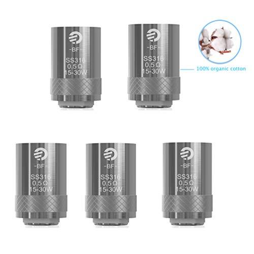 Oubbi Joyetech BF SS316 0,5 Ohm Verdampferköpfe für Joyetech CUBIS Atomizer/Cuboid Mini Kit(5 Stück)