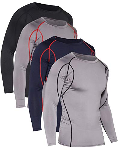 4 Pack: Mens Compression Shirts Long Sleeve Base Layer Thermal Athletic Cold Weather Tops Cool Sports Gym Running Active Wear T Shirt Workout Quick Dry Dri Fit Clothes for Men - Set 3, Medium