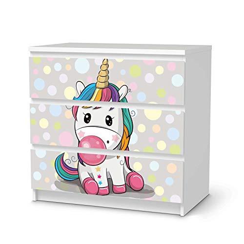 creatisto Möbelfolie selbstklebend für Kinder - passend für IKEA Malm Kommode 3 Schubladen I Tolle Möbelaufkleber für Kinder-Zimmer Deko I Design: Rainbow das Einhorn
