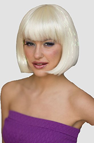 Platinum Blonde Bob Perruque avec Sparkles : Ange