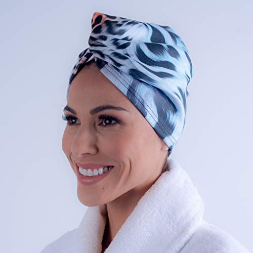 AqkuaTwist Animal Print Hair Towel & Turban.Ultra Absorbent Hair Towel Anti Freeze Capabilities Light Weight Sport N Care Microfiber Tech Compact in Fashionable Design Easy to Use. Made in USA