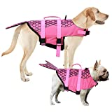 AOFITEE Dog Life Jacket Pet Safety Vest, Adjustable Dog Lifesaver Ripstop Pet Life Preserver with Rescue Handle for Small Medium and Large Dogs (Pink Mermaid, XS)