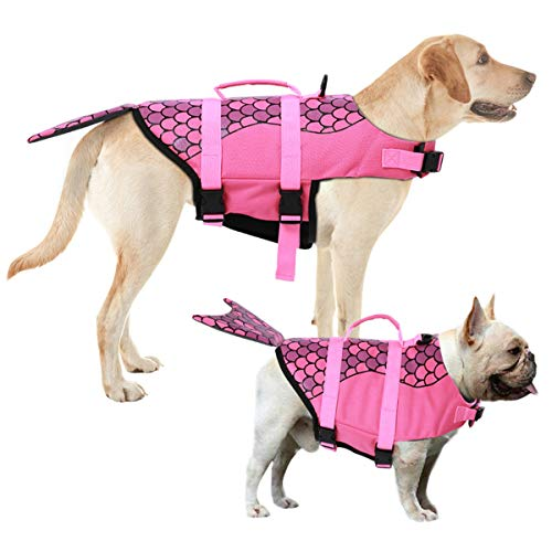 AOFITEE Dog Life Jacket Pet Safety Vest, Adjustable Dog Lifesaver Ripstop Pet Life Preserver with Rescue Handle for Small Medium and Large Dogs (Pink Mermaid, M)