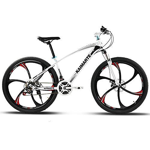 Link Co Bicicleta 24 Pulgadas 27 Velocidad Absorción de Choque Disco Freno Montar Bicicleta,White