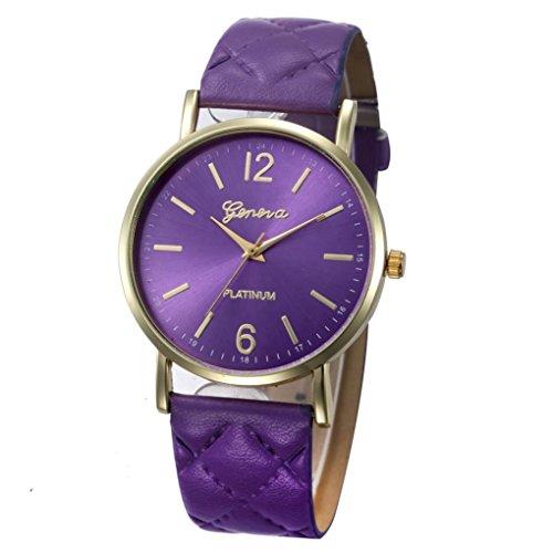Xinantime Relojes Mujer,Xinan Mujeres PU Banda de Cuero Analógico Cuarzo Reloj Pulsera (Púrpura)