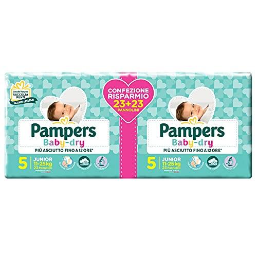 Pampers Baby Dry Pannolini, Taglia Junior, Confezione da 46 Pannolini