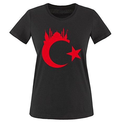 Türkei - Wappen - Istanbul - Damen T-Shirt - Schwarz/Rot Gr. S