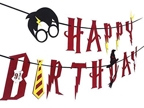 SHI WU Suministros de Fiesta de Harry Potter - Banner de Feliz cumpleaños Decoración de Fiesta de Guirnalda (Rojo)