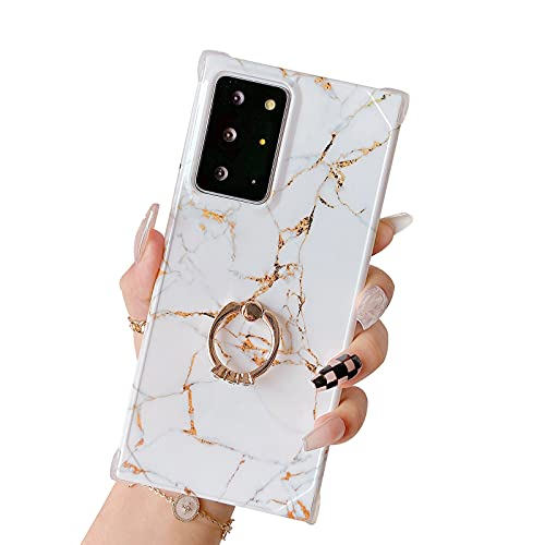 Jmltech for Samsung Galaxy Note 20 Ultra Case with Ring Holder Diamond Rhinestone Marble Cute Luxury Chic Glitter Bling Silicone Protective Phone Case for Samsung Galaxy Note 20 Ultra White Marble