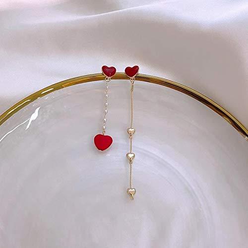 LIUL Pendientes asimétricos de Plata pequeños con corazón Rojo S925, Personalidad Creativa, Vigor Girl, Pendientes Largos en Forma de corazón, joyería