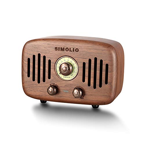 SIMOLIO Portable Vintage Retro Bluetooth Speakers with Powerful 2x8W Ultimate Stereo Sound, Nature Black Walnut Wood Bluetooth Speaker with CSR Chip, FM Radio and AUX, HD Sound and Bass,Gift Ideas